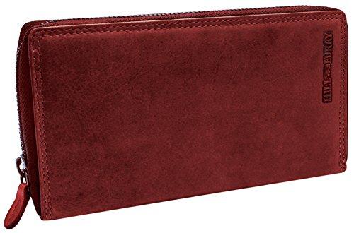 Hill Burry XXL Echt-Leder Portemonnaie | Reißverschluss Portmonee aus weichem Vintage Leder | Hochwertige Geldbörse – Clutch | Lange Multicard Handtasche – Organizer Mappe (Rot)