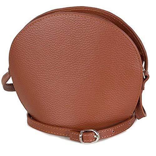 Taschenloft kleine Damentasche zum umhängen Leder Abendtasche cognac braun – Umhängetasche (20 x 17 x 9 cm)