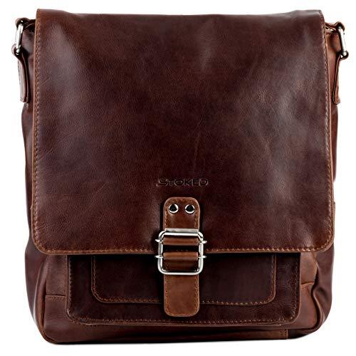 STOKED Umhängetasche NATHAN – Ledertasche mit Schultergurt groß fit für tablet – iPad – Schultertasche echt Leder braun-cognac