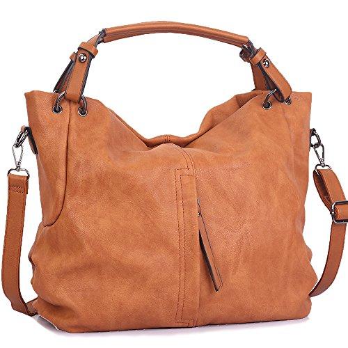 WISHESGEM Handtaschen Damen Taschen Hobo Umhängetaschen Schultertaschen Handtaschen PU-Leder Henkeltaschen Modernes 36cm(L)*16cm(W)*30cm(H) Braun