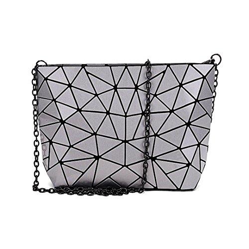AiSi Damen Leder Handtasche/Abendtasche/ Clutch/Damenhandtasche/ Schultertasche/Umhängetaschen/ Henkeltasche/Ledertasche mit Zusatzkette Reißverschluss Geometrie Motiv silber