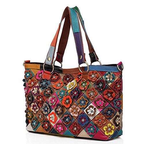 Eysee Handtasche Damen Leder-Umhängetasche Damenhandtasche Henkeltaschen Schultertasche aus echtem Leder bunt 2019 NEU