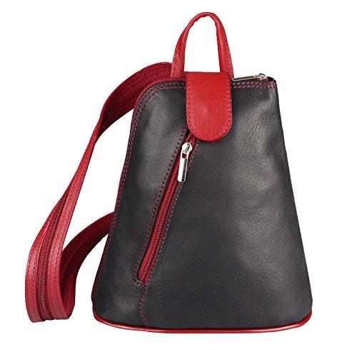 OBC Damen echt Leder Rucksack Schultertasche Stadtrucksack Backpack Lederrucksack Organizer Daypack Tablet bis ca. 8 Zoll 22x23x12 (Schwarz-Rot)