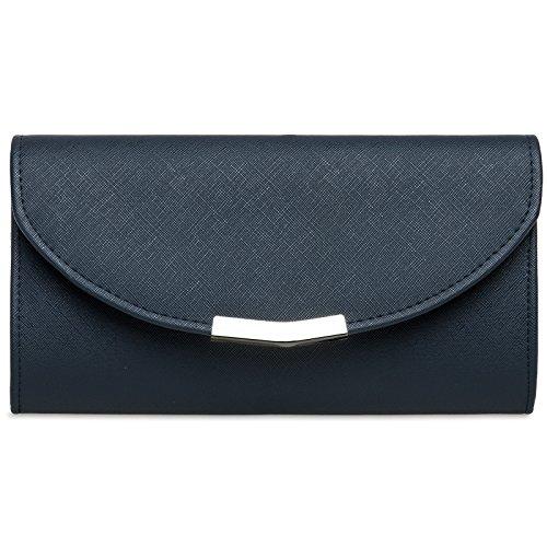 CASPAR TA360 elegante Damen Envelope Clutch Tasche/Abendtasche mit langer Kette, Farbe:dunkelblau;Größe:One Size