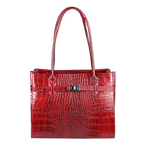 OBC Made in Italy Damen Echt Leder Tasche Kroko-Prägung Business Shopper Aktentasche Schultertasche Handtasche Ledertasche Umhängetasche DIN-A4 Tote Bag (Rot)