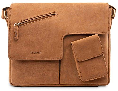 LEABAGS Manchester Schultertasche Laptoptasche 13 Zoll aus echtem Leder im Vintage Look – Braun