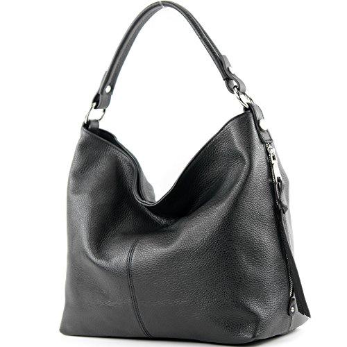 modamoda de – T160 – ital Shopper Schultertasche Groß Leder, Farbe:Schwarz