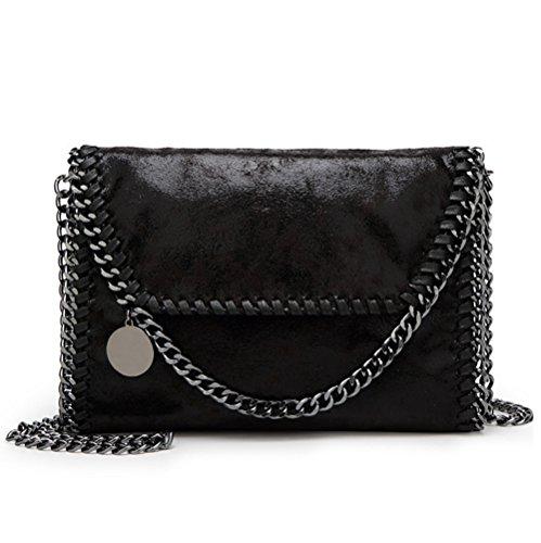 Valleycomfy Damen Handtaschen Clutches Elegante Schultertasche Metallic Kette Riemen PU Leder Cross Body Taschen Handtasche (schwarz)