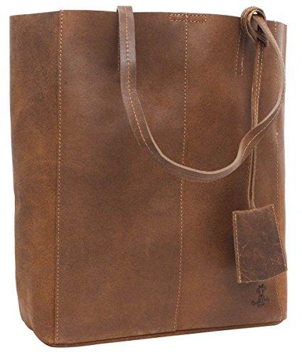 Gusti Handtasche Leder Damen Herren groß Cassidy Umhängetasche Shopper 13L Tasche Braun