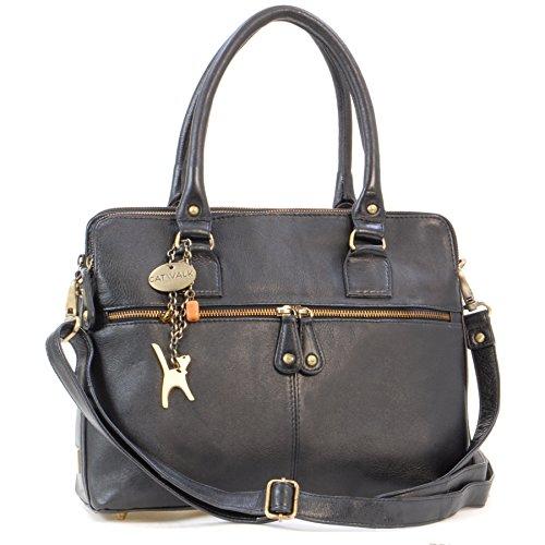 Catwalk Collection Handbags – Leder – Große Schultertragetasche/Umhängetasche/Shopper/Tote – Handtasche mit Schultergurt – VICTORIA – Schwarz