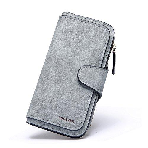 Geldbörse Damen Weich Leder Lang Clutch Portemonnaie Groß Geldbeutel viele Kartenfächer für Frauen grau