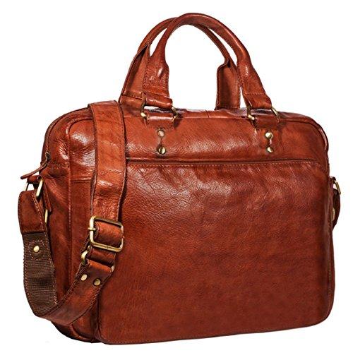 STILORD 'Joshua' Vintage Businesstasche Leder groß Herren Laptoptasche 13.3 Zoll Bürotasche Aktentasche Dokumententasche Umhängetasche echtes Rinds-Leder, Farbe:Cognac – braun