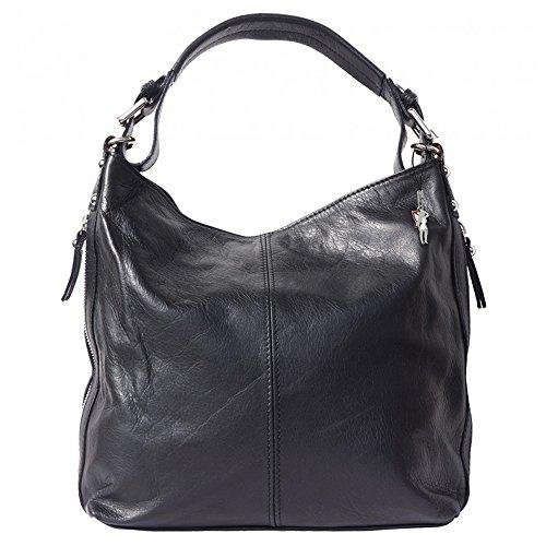Beuteltasche Schultertasche Leder schwarz langer Trageriemen Handtasche Damen Umhängetasche Hobo Tasche DrachenLeder Made in italy OTF101S