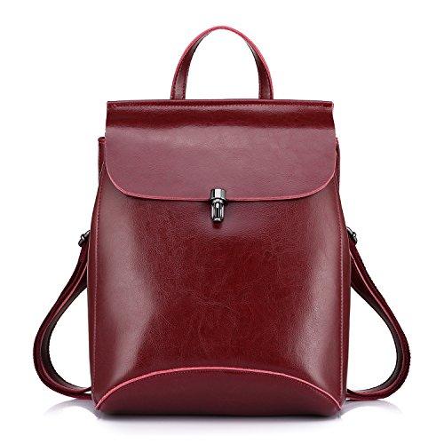 Realer Echtes Leder Rucksäcke Geldbörsen für Frauen Schultertasche Rot