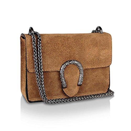Glamexx24 Damen Clutch echt Leder Tasche Abendtasche mit Kette Handtasche Made in Italy Braun