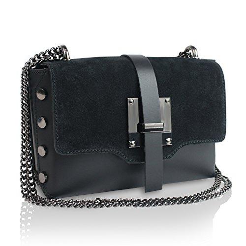 Glamexx24 Damen Clutch echt Leder Tasche Abendtasche mit Kette Handtasche Umhängetasche Made in Italy Schwarz