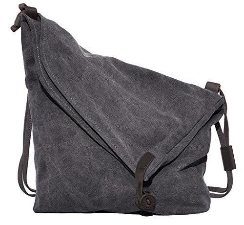 Canvas Umhängetasche, Coofit Schultertasche Damen Hochschule Stil Messenger Bag Retro Unisex Stofftasche (Coofit Dunkelgrau)