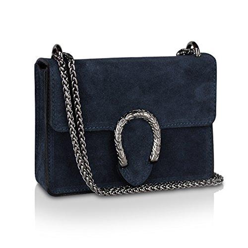 Glamexx24 Damen Clutch echt Leder Tasche Abendtasche mit Kette Handtasche Made in Italy Blau Blau
