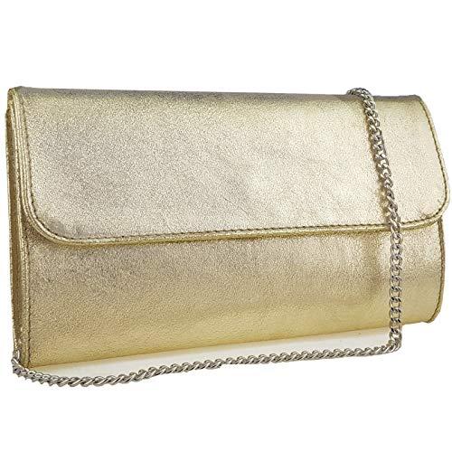 Freyday Echtleder Damen Clutch Tasche Abendtasche Muster Metallic 25x15cm (Hellgold Metallic)