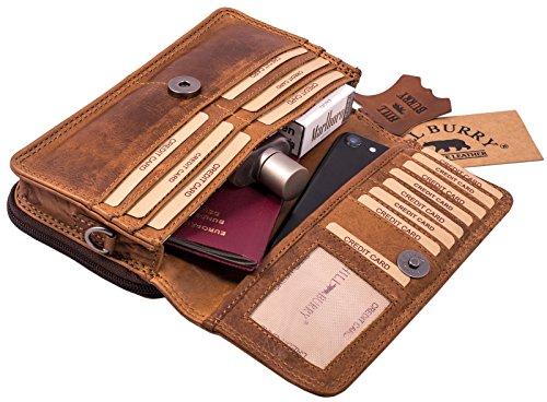 Hill Burry Echt-Leder Umhängetasche | Reisebrieftasche aus naturgegerbtem hochwertigem Rindsleder – Organizer | Reisebrieftasche – Damen & Herren | Handgelenktasche – Travel Wallet (Braun)