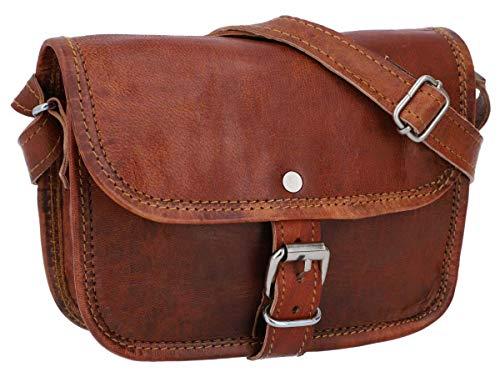 Gusti Handtasche Leder – Nature Handtasche Mary S kleine Umhängetasche braune Lederhandtasche im Vintage Look Retro Damen