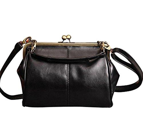Tomatoa elegante Damen Frauen Retro Vintage Schultertasche Tasche Umhängetasche Tasche Abendtasche Citytasche Rahmentasche (Schwarz)