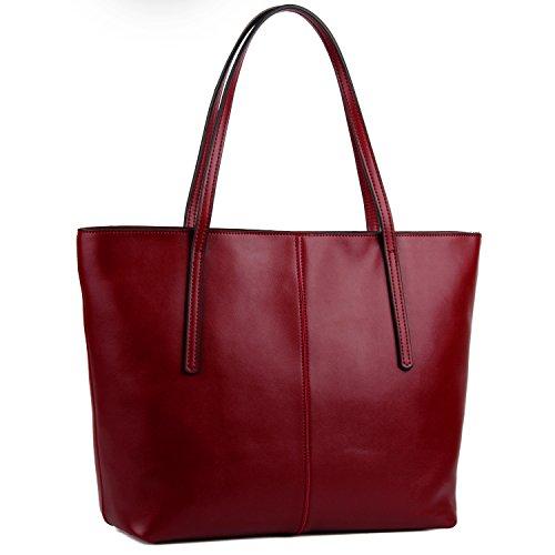 YALUXE Handtasche Damen Echt Leder Grosse Kapazität Lederarbeitstasche mit Reißverschluss Schultertasche Winerot