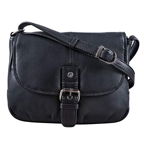 STILORD 'Iris' Leder Handtasche Damen klein Vintage Umhängetasche zum Ausgehen Klassische Abendtasche Partytasche Freizeittasche Echtleder, Farbe:schwarz