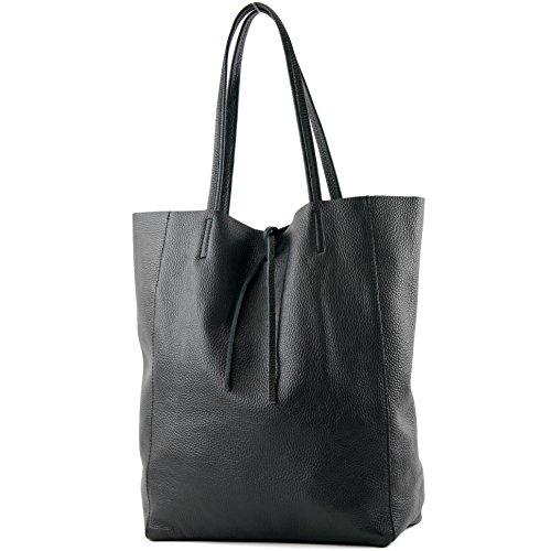 modamoda de – T163 – Ital. Shopper mit Innentasche aus Leder, Farbe:Schwarz
