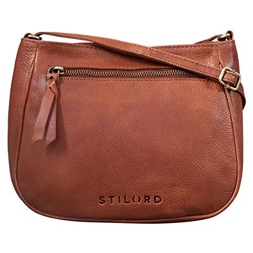 STILORD 'Samira' Handtasche Leder Frauen zum Umhängen Vintage Umhängetasche für Damen-Tasche Abendtasche Elegante Echtleder Tasche, Farbe:Texas – braun