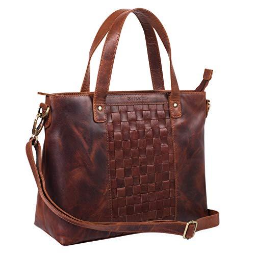 STILORD 'Mara' Elegante Handtasche geflochtenes Leder mit abnehmbaren Schulterriemen Abendtasche Ausgehtasche Echtleder, Farbe:Siena – braun