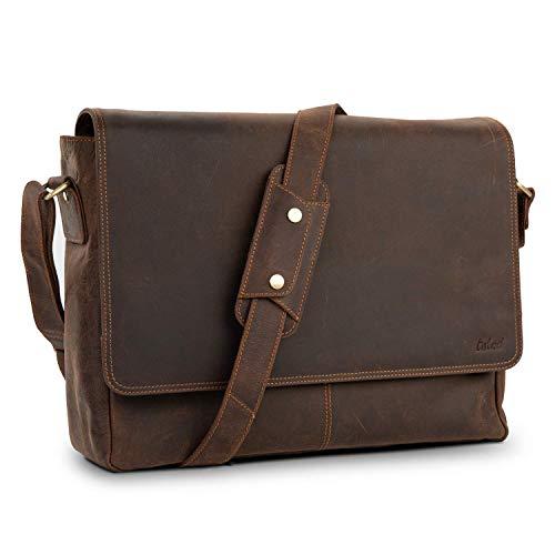 TALED® Premium Messenger Bag Herren braun – Laptoptasche Leder mit 15,6 Zoll – Inkl. kostenloses Schulterpolster – Hochwertige Ledertasche Herren im Vintage Look – Uni Tasche, Arbeit, Schule