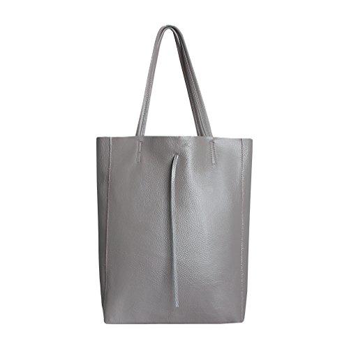 SKUTARI® Vittoria Classic – Damen Shopper aus echtem Leder, Handtasche mit eingenähter Innentasche, handgefertigt in Italien, Fashion Tragetasche, Beuteltasche mit langen Griffen,