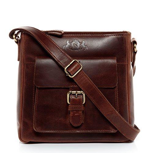 SID & VAIN Schultertasche echt Leder Yale klein Handtasche Schultergurt Umhängetasche Ledertasche Damen braun