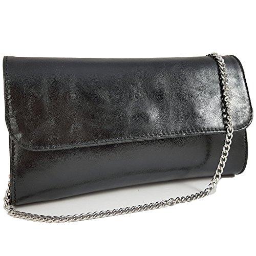 Freyday Echtleder Damen Clutch Tasche Abendtasche Muster Metallic 25x15cm (Schwarz Metallic)
