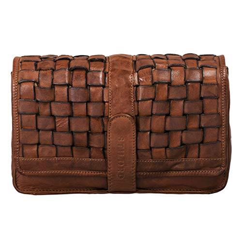 STILORD 'Ella' Handtasche Damen Leder klein Vintage Clutch geflochten Abendtasche Ausgehtasche für Party Disco Freizeit echtes Rindsleder, Farbe:Ocker – braun