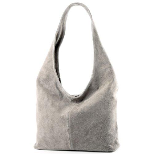 modamoda de – T150 – ital Schultertasche aus Leder Wildleder, Farbe:Beigegrau