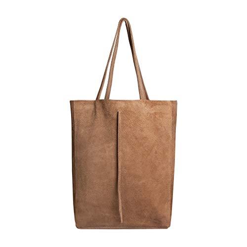 SKUTARI® Vittoria Ruvido – Damen Shopper aus Wildleder, Leder-Handtasche mit eingenähter Innentasche, handgefertigt in Italien, Tragetasche, Beuteltasche mit langen Griffen