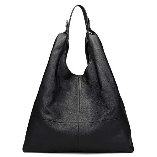 Beylasita Damen Ledertasche Handtasche große Schultertasche aus weichem echtem Leder Hobo Beuteltasche Tote Shopper (Schwarz)
