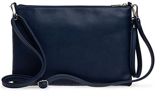 Caspar TA341 große Damen XL Glitzer Pailletten Clutch Tasche Abendtasche mit Handschlaufe, Farbe:dunkelblau, Größe:One Size