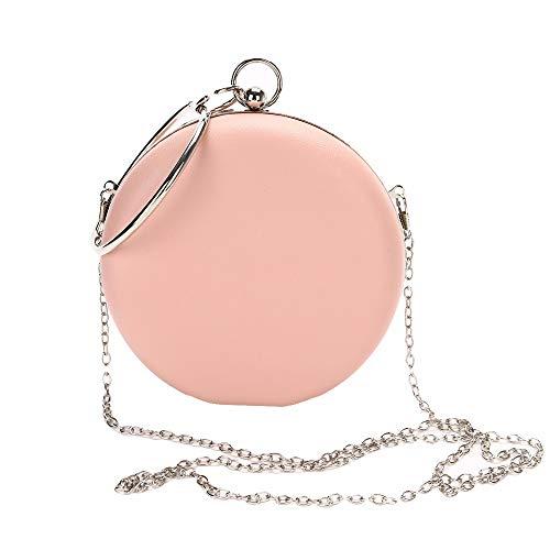 HOQTUM Abendhandtasche PU-Leder runde einfache Abendtasche Damen-Bankett-Partytasche Kette Schulter Umhängetasche