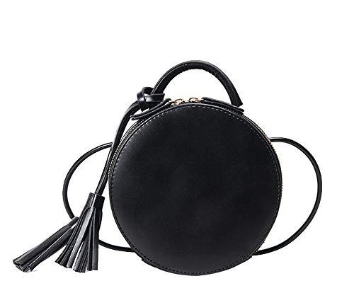 JUND 2018 Retro Mode Metallgriff Handtasche Nieten Leder Umhängetasche Trendy Freizeit Rund Messenger Bag