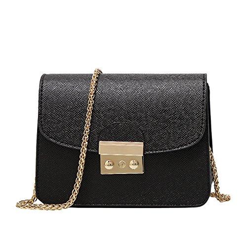 Umhängetasche Damen Sunday schultertasche leder handtasche klein henkeltasche Metallgriff Abendhandtasche aus Leder mit Kette Bling Pailletten (20cm, Schwarz)