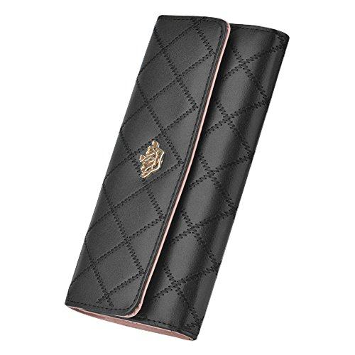 Geldbörse, Cozyswan Portemonnaie PU-Leder Geldbeutel Purse Clutch Abend Handtasche Krone (schwarz)