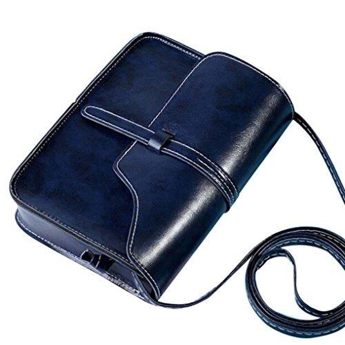 SuperSU Damen Vintage Handtasche Tasche Handtaschen für Frauen Leder Cross BodySchultertaschen Für Damen Klein Leicht Umhängetasche (Rot) (Dunkelblau, 18.5cm(L)*13.5(H)*4cm(W))