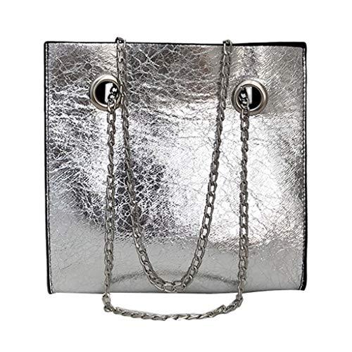 LILIHOT Damen Schultertasche Leder Handtasche klein Damenhandtasche Metallgriff Henkeltasche Abendhandtasche Damen Quaste Weibliche Tasche Paket Kette Umhängetasche Mini-Tasche Handtasche