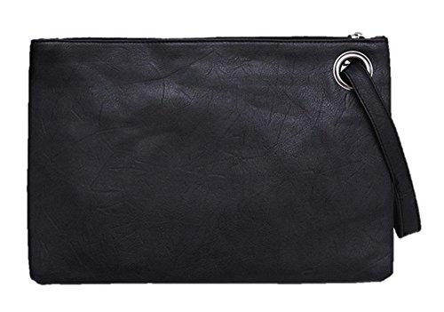 Tskybag Übergroße Clutch-Handtasche für Damen, großes PU-Leder, Abend-Handtasche, Schwarz – Schwarz  – Größe: Large