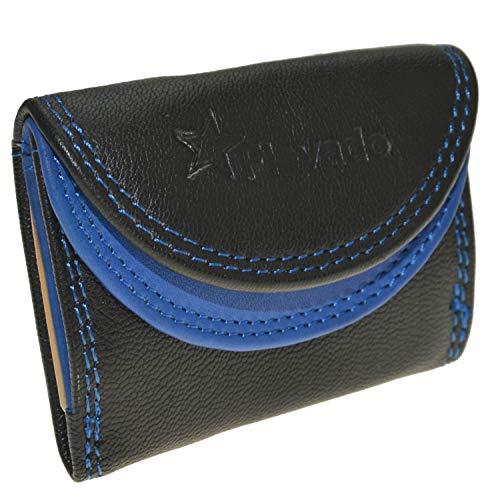 Kleine handliche Party Disco Geldbörse mit RFID Schutz (scharz-blau)
