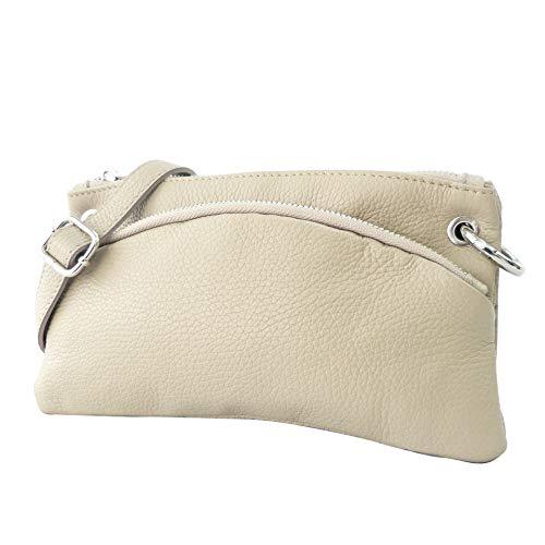 SH Leder Echtleder Umhängetasche Clutch kleine Tasche Abendtasche 24,50x14cm G1619 (Beige)