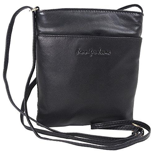 Kleine Jennifer Jones Taschen Damen 100% Leder Damentasche Handtasche Schultertasche Umhängetasche Tasche klein Crossbody Bag Schwarz (6124)